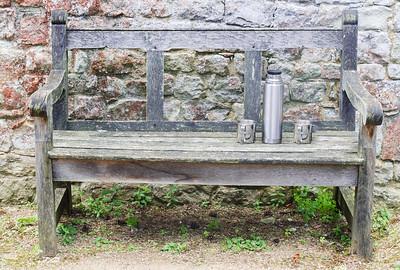 Thurmas & Mugs on a Bench