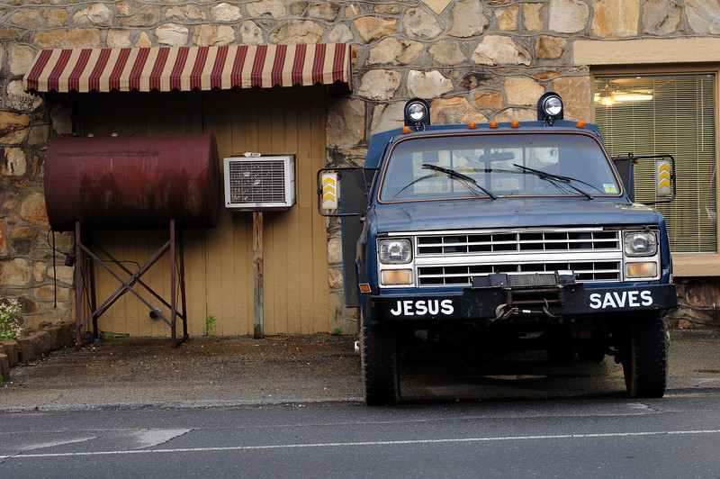 Chevy Diesel service truck in front of Christian Youth Center in downtown Robbinsville NC