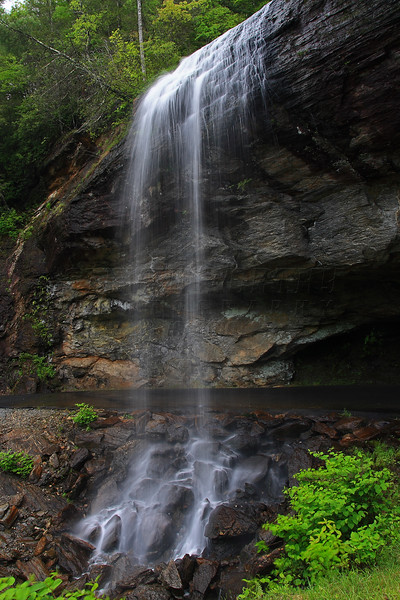 Bridal Veil Falls, along US 64 just west of Highlands, NC. Cars can drive underneath the falls and now open after having a large rock blocking the roadway.