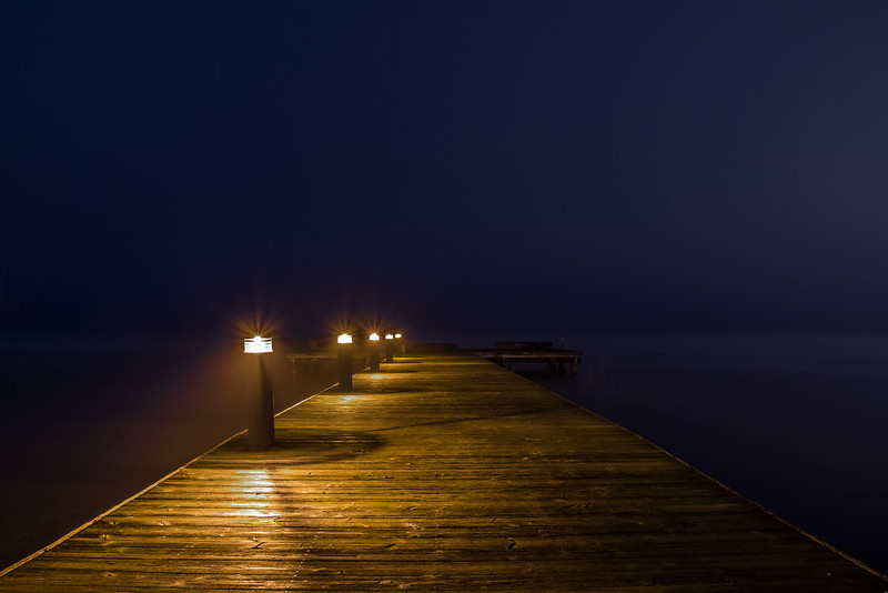Into the foggy night.<br /> <br /> Kirkland, Wa. Houghton Beach.