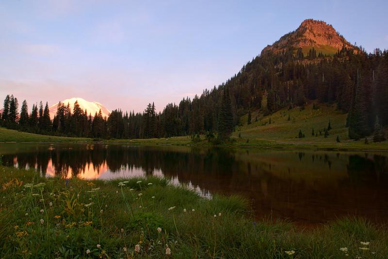Sunrise on Tipsu Lake overlooking Mt. Rainier.