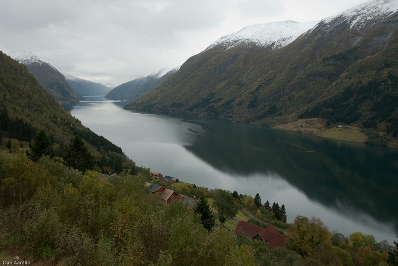 Norway, Fjærlandsfjorden sett sørover.