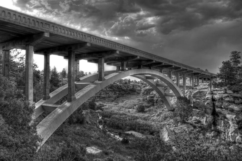 Castlewood Canyon Bridge B&W