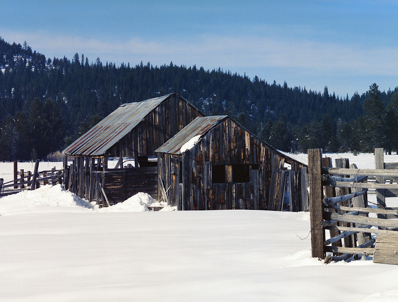 Abandoned buildings, winter somewhere in the Sierras