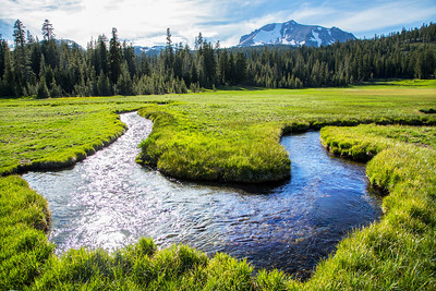 Kings Creek and Kings Creek Meadows with Mt. Lassen in the background, Lassen Volcanic National Park, June 2013