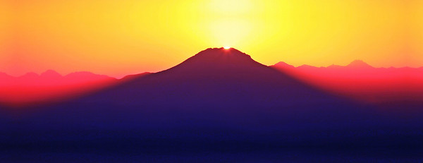 "This version of the sunrise over Mt Lassen is a panoramic image meant to be printed 16"" x 48"" on canvas or paper."