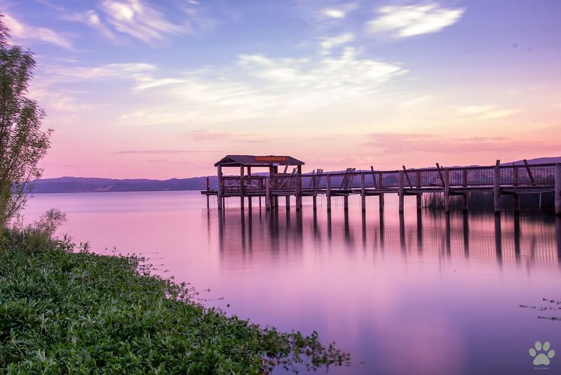 Clear lake at Sunset