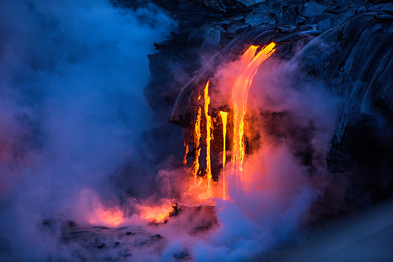 """Lava Flowing on the Big Island in Volcano National Park, Hawaii"""