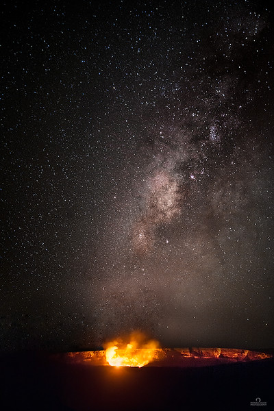 Milky Way over Halemaumau Crater