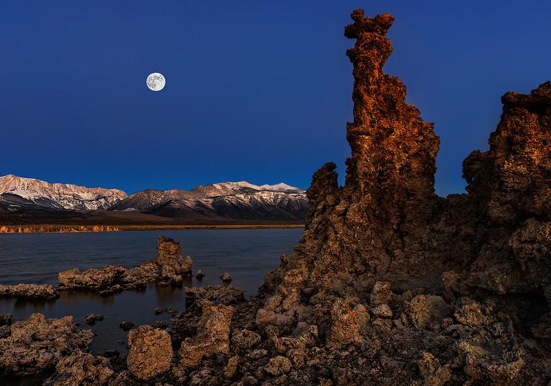 View of Moon Setting at Mono Lake
