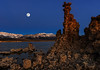 View of Moon Setting at Mono Lake