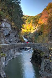 Lower Falls and stone bridgein Letchworth gorge