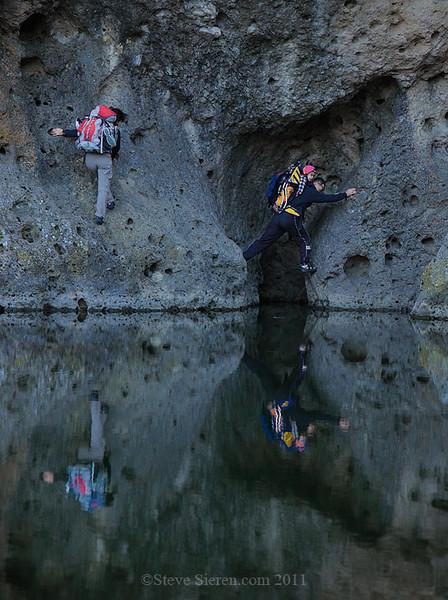 family climbing in the Santa Monica Mountains near Los Angeles.