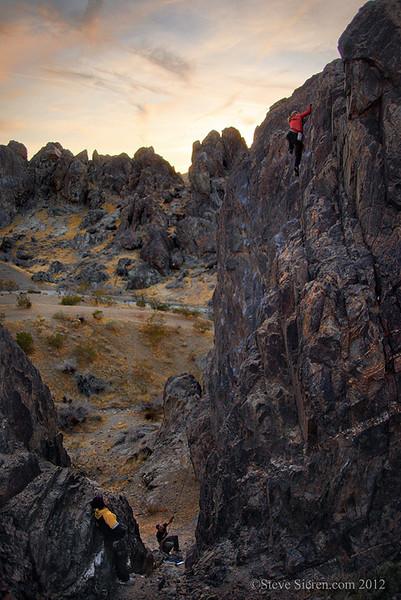 Climbing in the Mojave Desert near Stoddard Ridge