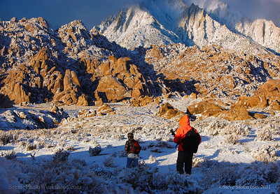 Photography workshop after snow storm in the Alabama Hills, Lone Pine, California.