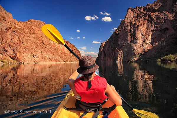 Kayaking the Colorado River in Arizona and Nevada.<br /> Mojave Desert
