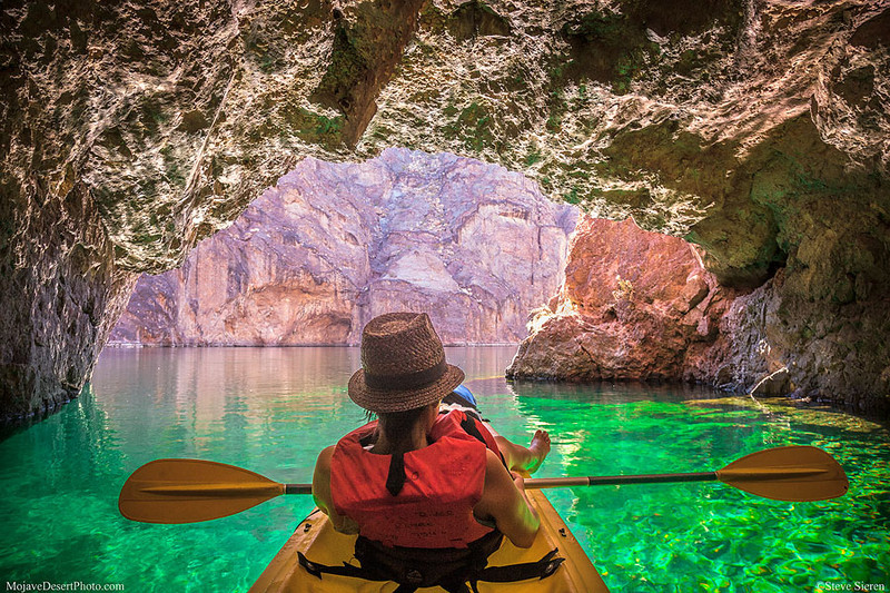 Colorado River Kayaker - Emerald Cave Mojave Desert - Arizona Nevada Recreation