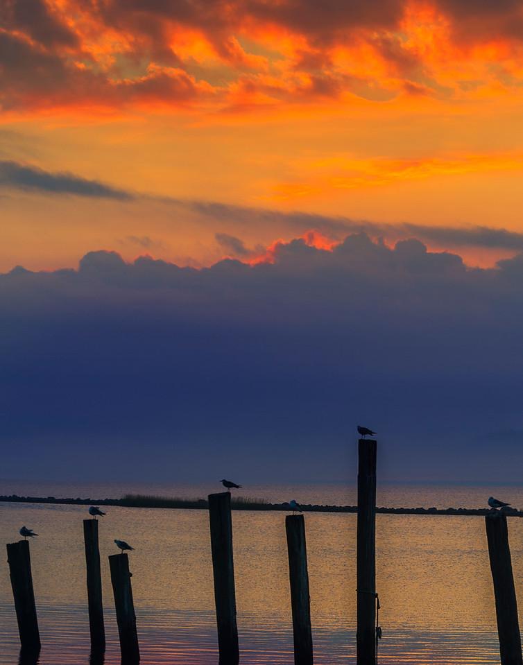 Fall morning breaks off the coast of Eastpoint, FL