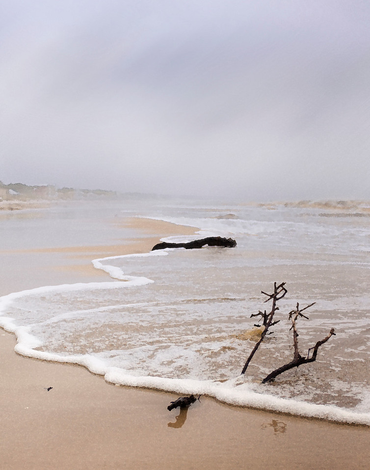 Strong spring storm rakes the beach near Cape San Blas, Florida