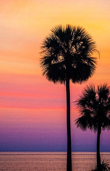 Sunset on the causeway, near Eastpoint, FL