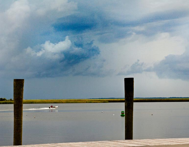 Running hard to beat the storm, Apalachicola FL