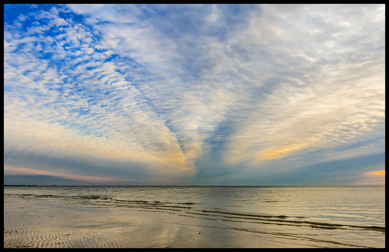 Winter morning sky near Apalachee Bay, flats at end of Marsh Sands Road, County Road 372