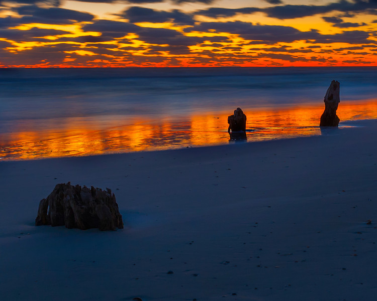 Last minutes of the day reflecting off the incoming tide, Cape San Blas Road, Florida,