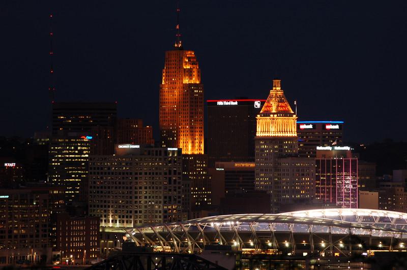 Downtown Cincinnati and Paul Brown Stadium.