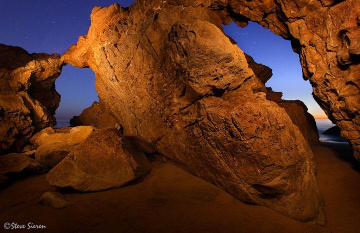 Night Arch<br /> <br /> A local sea arch on the Coast of Malibu California
