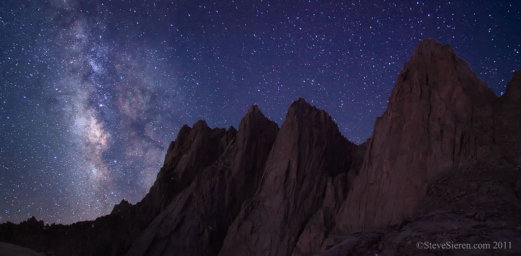 Mt. Whitney and the Milky Way from camp the night before summiting all the peaks in this shot, Whitney, Keeler Needle, Day Needle, and Mt Muir.  All 14,000 foot peaks.  We came back over Whitney again on the way back down to our camp site.