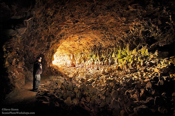 Center of the Earth <br /> Lava Beds National Monument - Self Portrait<br /> <br /> One of the largest lava tubes in California.
