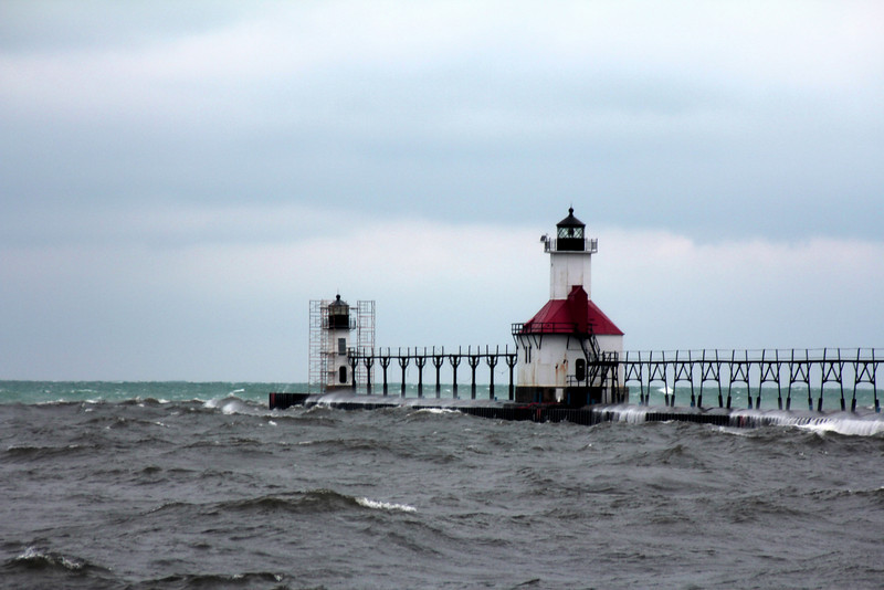 The outer pierhead light was constructed in 1906, replacing an 1859 lighthouse built on a hill overlooking the river. The inner light was added midway along the pier in 1907, creating a pair of range lights. <br /> <br /> A Lighthouse Depot for the ninth district of the United States Lighthouse Service was built alongside the river in 1893. The depot buildings are now home to the Saint Joseph River Yacht Club. <br /> <br /> In May of 2008, the St. Joseph Pierhead and Inner Lights, deemed excess by the Coast Guard, were offered at no cost to eligible entities, including federal, state and local agencies, non-profit corporations, educational agencies, or community development organizations. The City of St. Joseph was the only entity to submit an application, and after reviewing it, the National Park Service requested more information on how the city would share stewardship of the lights with the Heritage Museum and Cultural Center and during what time the lights would be open to the public. A more complete application was returned to the National Park Service in April of 2009. <br /> <br /> In August of 2008, a historical architect assessed the inner and outer lighthouse structures, at a cost of $17,000, and concluded that $1 million in repairs would be necessary before public access to the lights could be permitted. The inner light requires more attention as part of its ceiling has collapsed. The city might not need to fund the entire restoration, as the Coast Guard may perform some rehabilitation work on the structures before the ownership transfer.