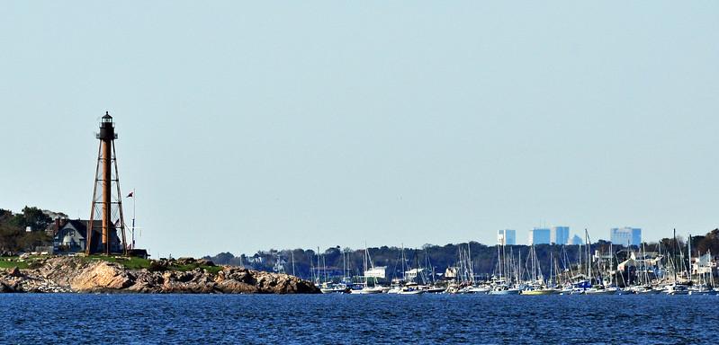 Boston Skyline and Marblehead Lighthouse