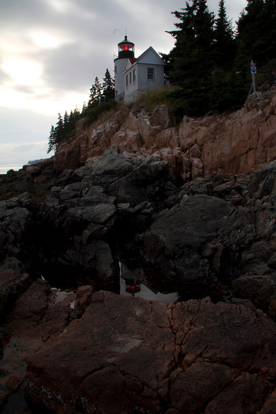 The Bass Harbor Lighthouse, Acadia National Park, Maine, in the evening.