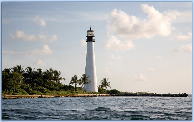 Cape Florida Light from the  Biscayne Channel on a soft summer morning.
