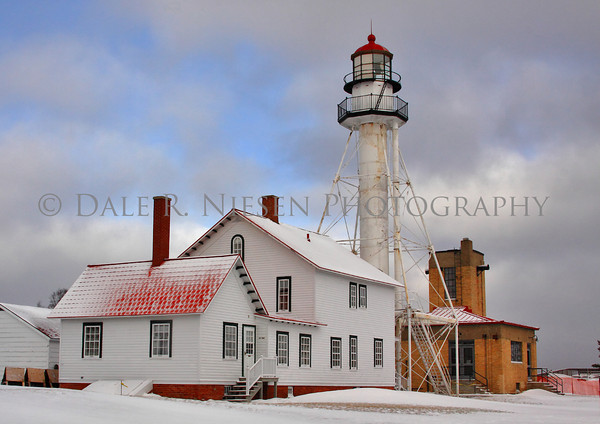 Winter time at Whitefish Point Light near Paradise, Michigan