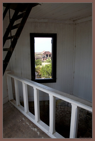 Up The Stairs to the lighthouse - window view of inside the fort.