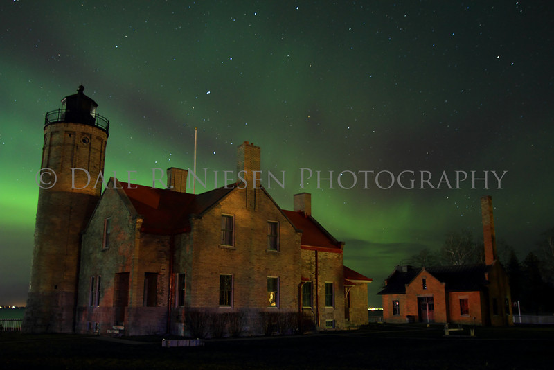 Old Mackinac Point Lighthouse with the northern lights dancing in the sky above, taken November 14, 2012, Mackinaw City, Michigan. (See two more views like this in my Aurora Borealis Gallery).