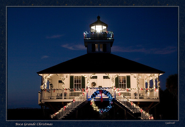 Boca Grande Lighthouse in December decked out in a festive display of Christmas lights.