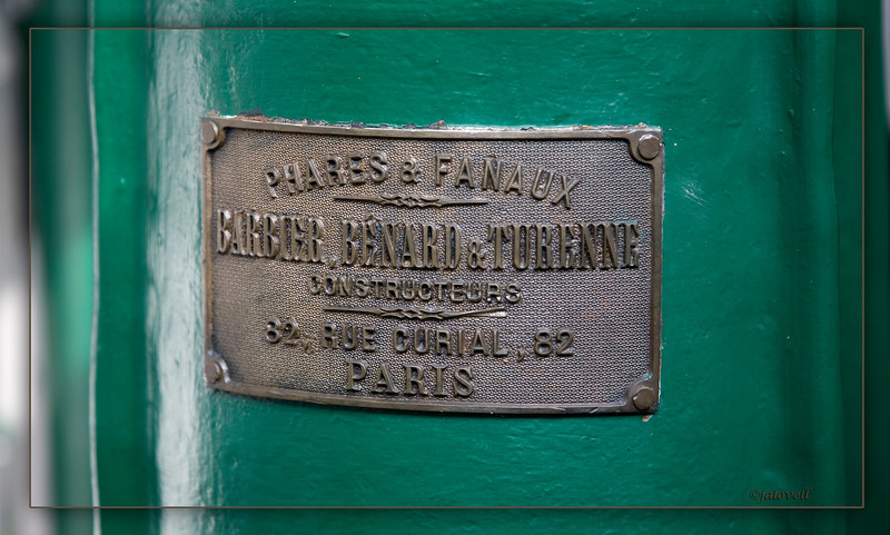 "The Hillsboro Lighthouse is fitted with an original Second Order bivalve Fresnel lens and displays a plaque of manufacture with the encryption: ""Phares & Fanaux, Barbier, Benard & Turenne, 82 Rue Curial, Paris"""