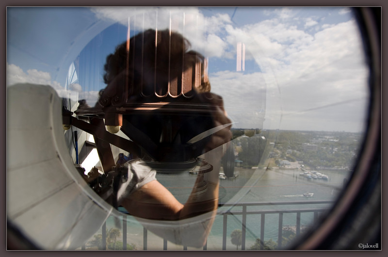 My reflection while peering in the port hole of Jupiter Light to see what I could see of the lens from that vantage point.