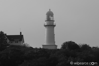 Cape Elizabeth Lighthouse shrouded in fog.  Portland, ME