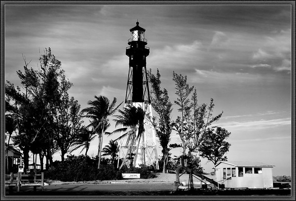 Hillsboro Light marks the entrance to the Hillsboro Inlet in Deerfield Beach, Florida <br /> It's first order fresnel shines 28 miles out to sea.