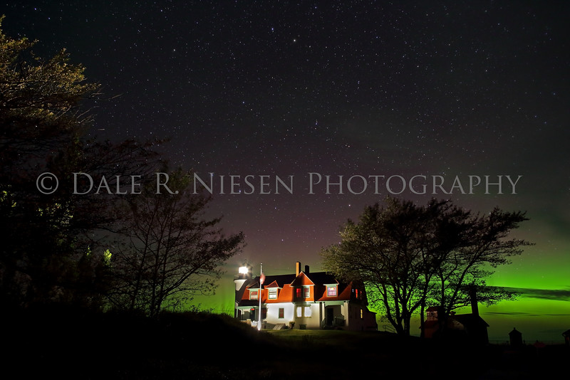 Point Betsie Lighthouse and the Aurora Borealis near Frankfort, Benzie County, Michigan