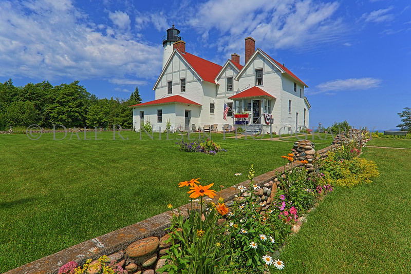A beautiful July day at Point Iroquois Lighthouse near Brimley, Michigan on Whitefish Bay.
