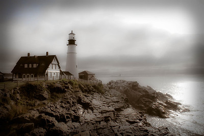 Ghost Light Portland Headlight in the morning fog