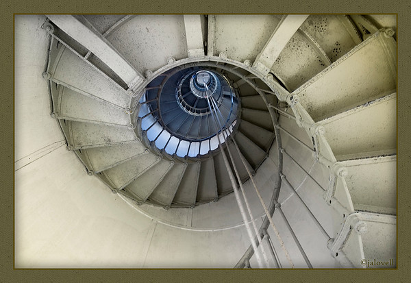 The stairwell up the Hillsboro light has the organic symmetry as a spiral into the nuclear whorl of a shell.