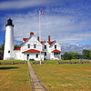 Point Iroquois Lighthouse near Brimley, Michigan on Whitefish Bay.