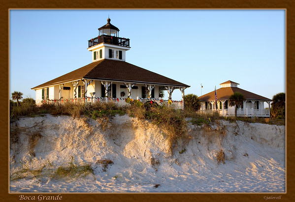 Boca Grande Lighthouse sits on a dune and faces the Gulf of Mexico on Florida's west coast.