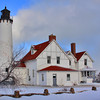 Winter at Point Iroquois Lighthouse near Brimley, Michigan on Whitefish Bay.